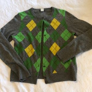 J. Crew gray, yellow and green sweater